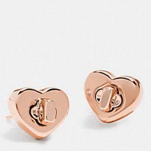 Coach Turnlock Heart Stud Earrings Rose Gold NWT